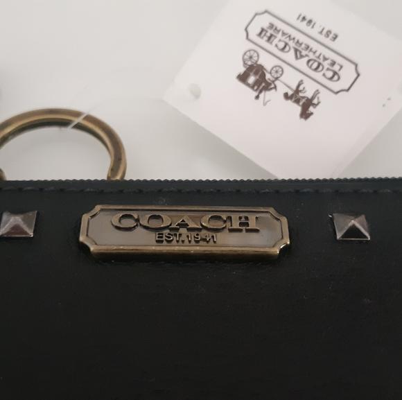 NWT Coach Black & Nickel Keychain Wallet